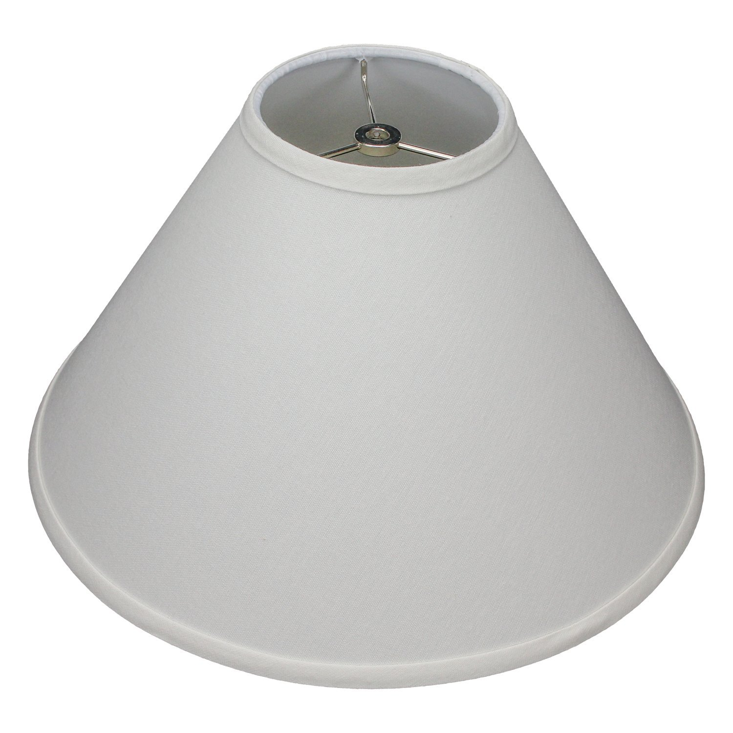 FenchelShades.com Lampshade 5'' Top Diameter x 15'' Bottom Diameter x 10'' Slant Height with Washer (Spider) Attachment for Lamps with a Harp (Cream)