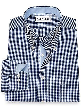 35928518f400 Paul Fredrick Men's Non-Iron Cotton Broadcloth Gingham Dress Shirt Navy  15.0/35