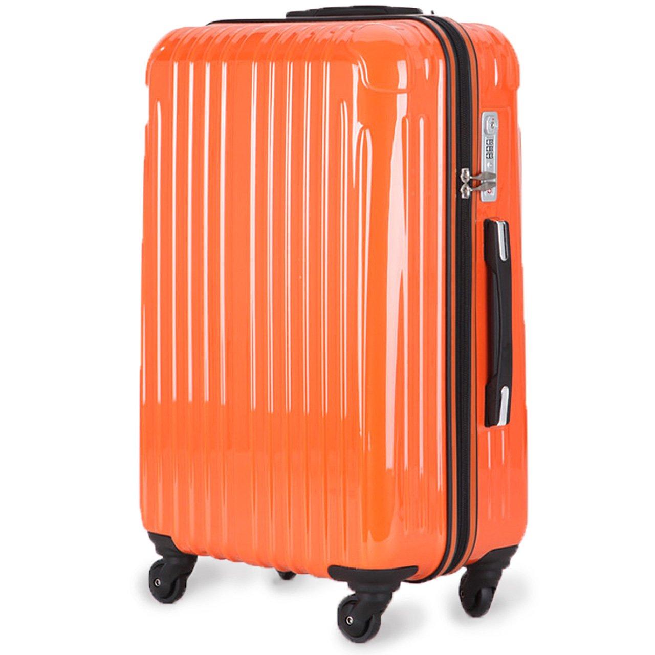 strike[ストライク]超軽量 2年保証 スーツケース TSAロック搭載 旅行バック トランクケース 旅行カバン B0757GVL2T 大型アウトレット|オレンジ オレンジ 大型アウトレット