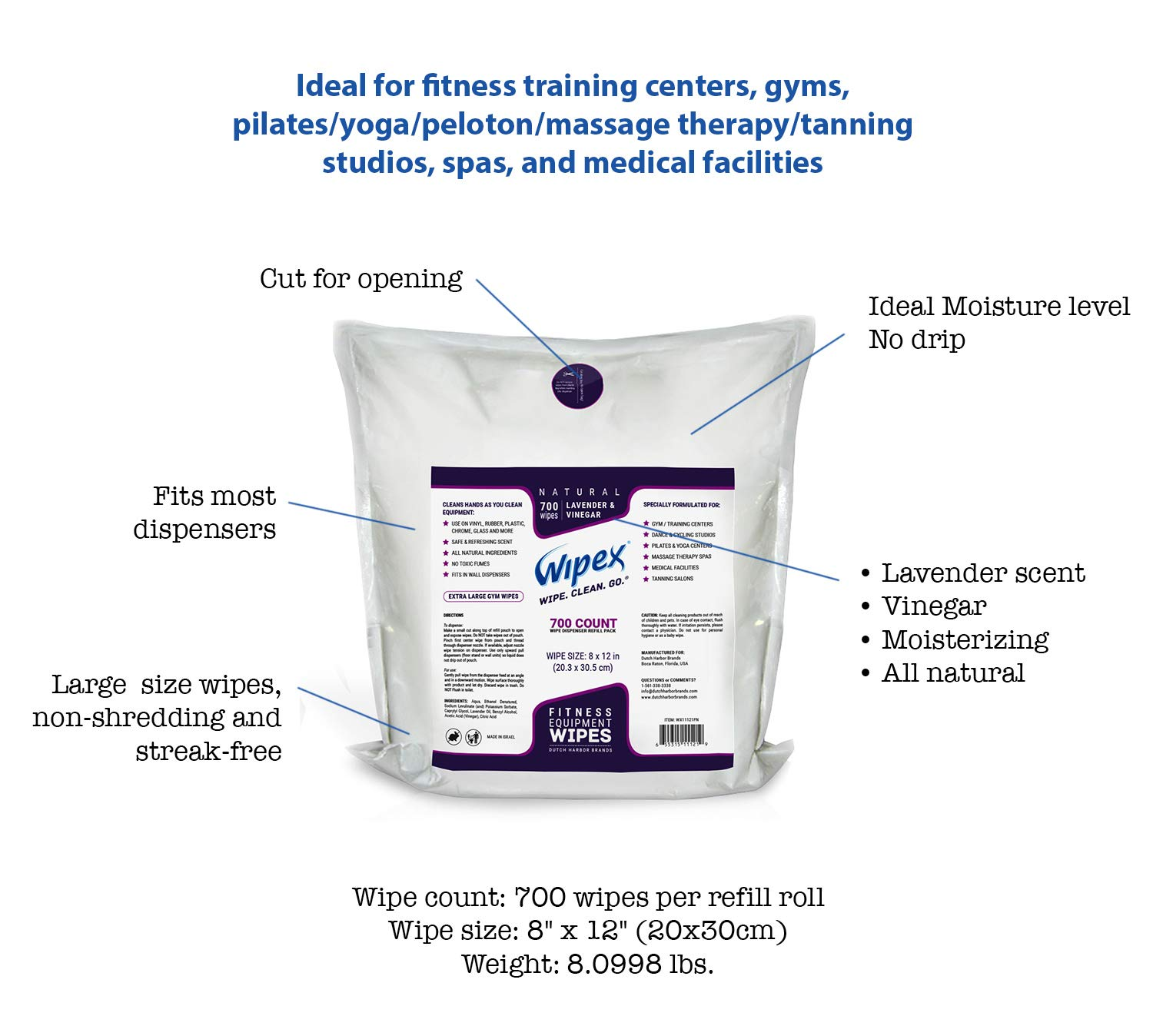 Wipex Gym & Fitness Wipes Refill Pack 700 Large Natural Wipes With Vinegar & Lavender Oil (1 Refill) by Wipex (Image #3)