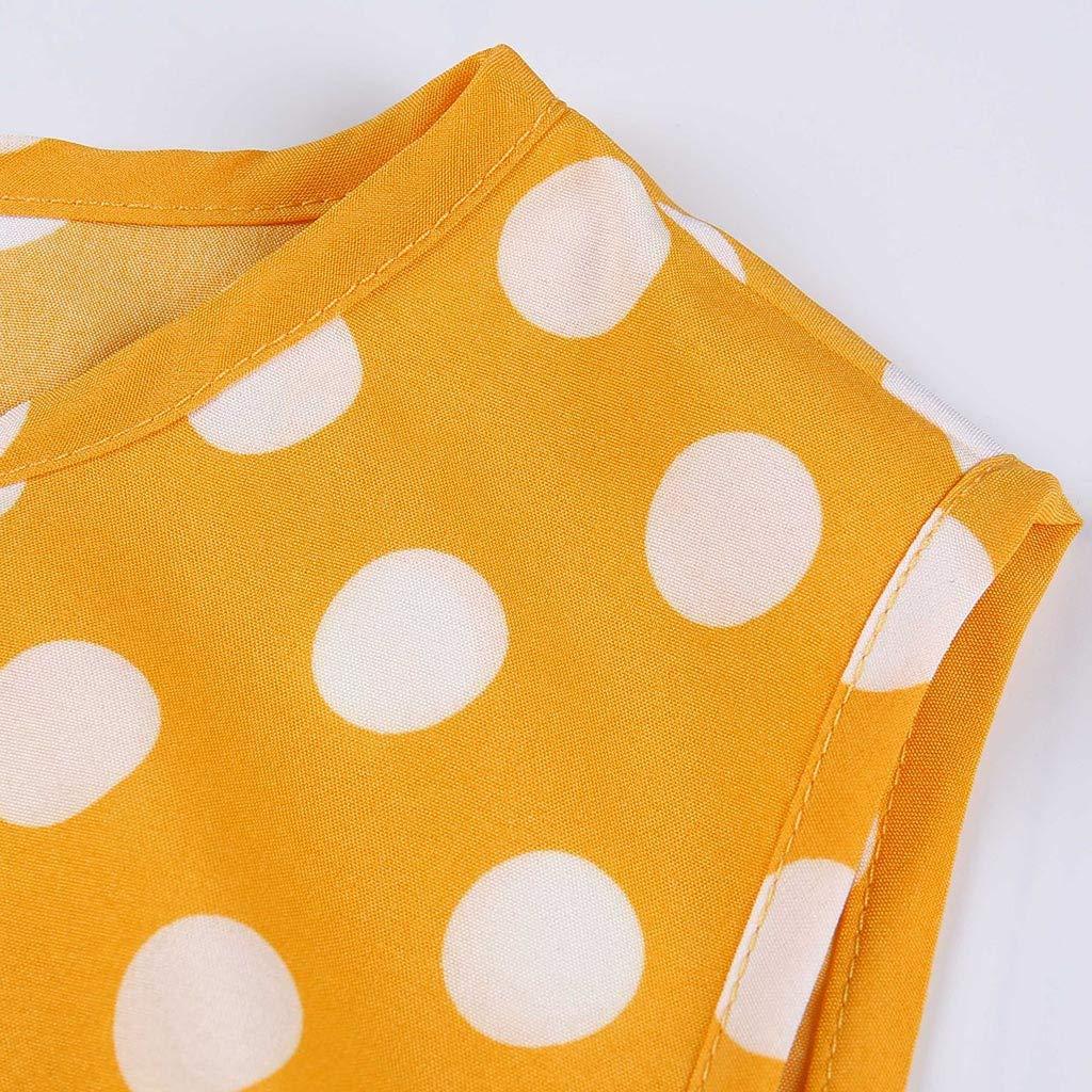 Mnowson Ladies Casual Fashion Round Neck Polka Dot Ruffled Sleeveless Dress Mini Skirt Beach Skirt