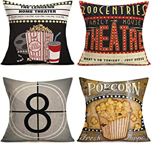 Asminifor Vintage Movie Theater Pillow Covers Popcorn Drink Cinema Movie Tape Personalized Home Decor Design Throw Pillow Cover Pillow Case 18 x 18 Inch Cotton Linen for Sofa Set of 4 (VM-Movie)
