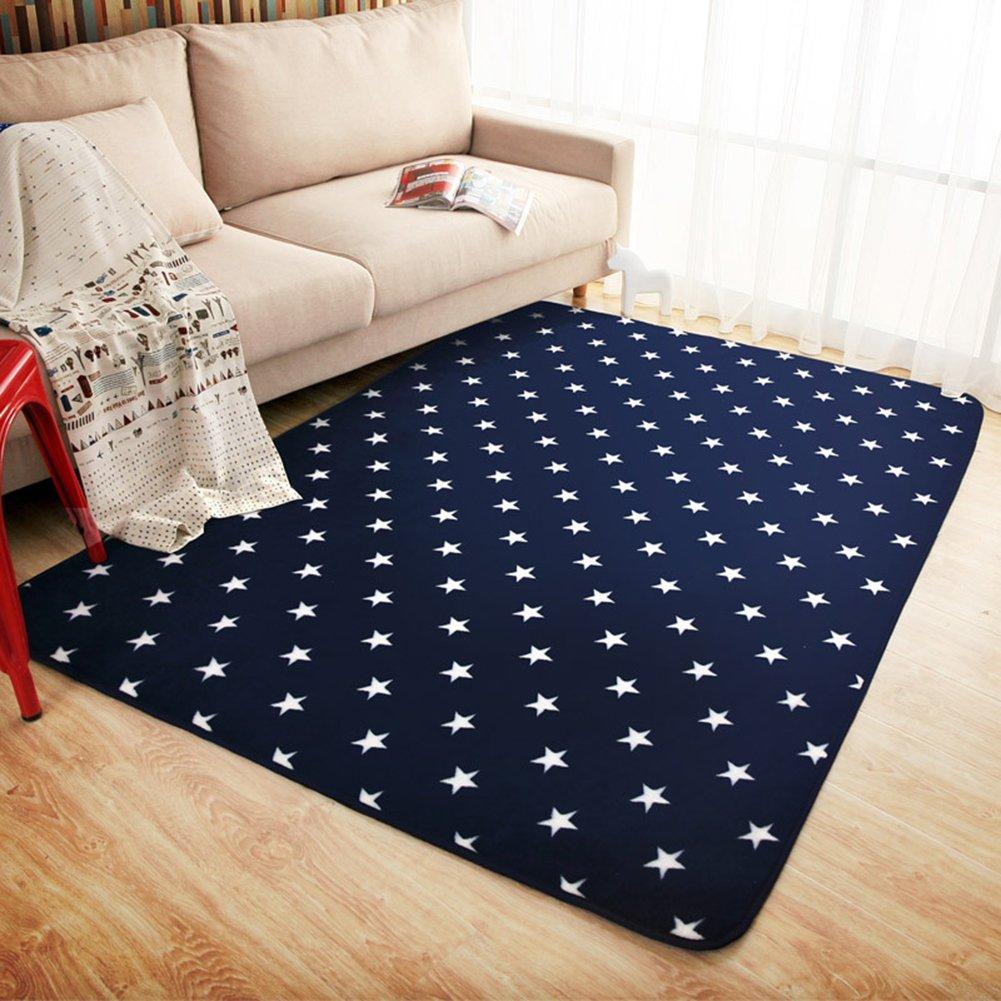 LOCHAS Star Children Play Mat Blue Decor Carpet Perfect for Nursery Kid's Room Playroom Rug, 6.1 X 6.1ft/185 X 185cm