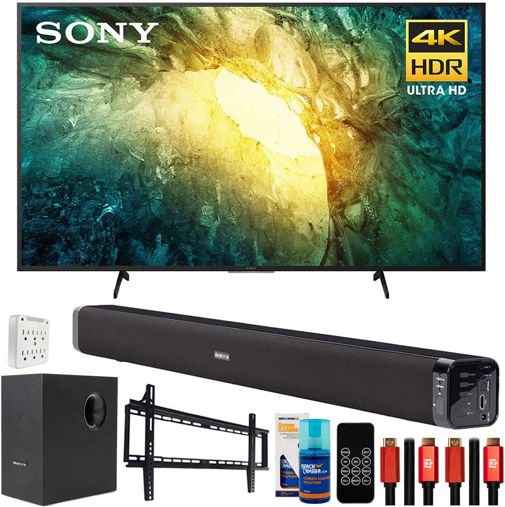 Sony KD65X750H 65 inch X750H 4K Ultra HD LED Smart TV (2020 Model) Bundle with Deco Gear Home Theater Soundbar with Subwoofer, Wall Mount Accessory Kit, 6FT 4K HDMI 2.0 Cables and More