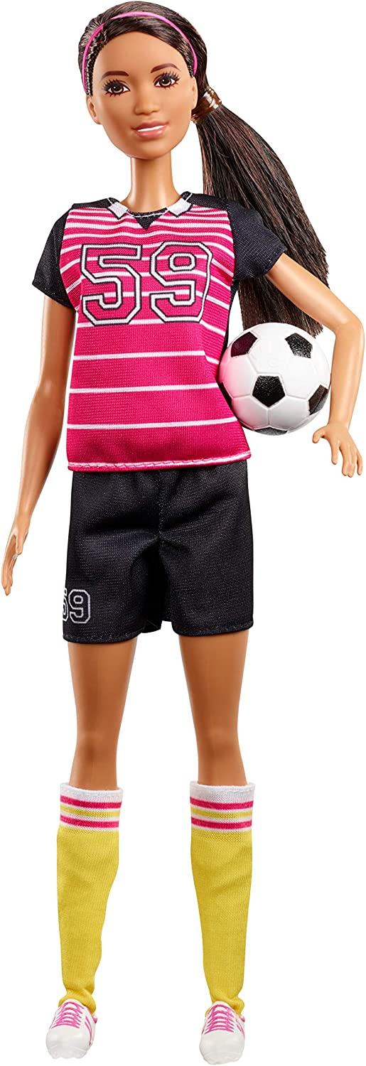 Barbie Athlete Doll, Brunette, Wearing Uniform and Socks with Soccer Ball