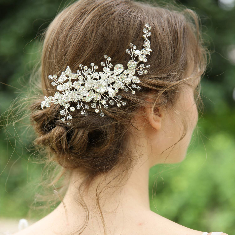 AW Sliver Rhinestones Wedding Hair Clip Bridal Hair Comb Flower Girl Opal Hair Piece Crystal Wedding Hair Accessories for Brides Bridesmaids by AW