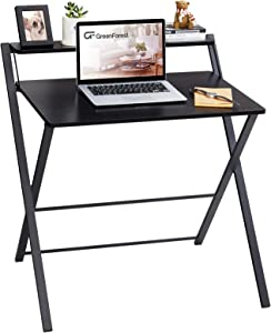 GreenForest Folding Desk, 2 Tier Computer Desk with Shelf Space Saving Laptop Study Table No Assembly Needed, Black
