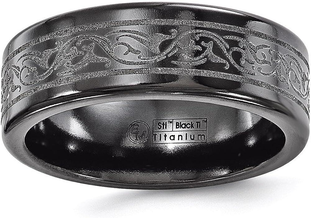 Edward Mirell Titanium Black Ti Laser 8mm Band
