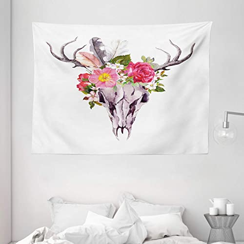 Ambesonne Antler Tapestry, Deer Animal Skull with Flowers and Feathers Vintage Retro Style Watercolor Artwork, Wide Wall Hanging for Bedroom Living Room Dorm, 80 X 60 , Pale Lavender