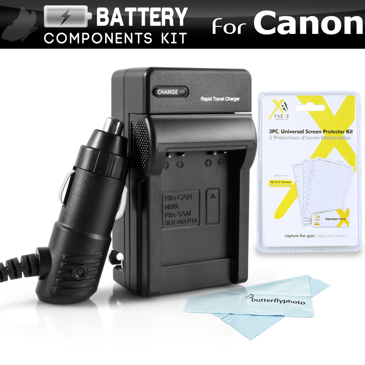 Battery Charger Kit For Canon Powershot ELPH 180, ELPH 190 IS, A2500, ELPH 150 IS, ELPH 170 IS, ELPH 160, SX400 IS, SX410 IS, SX420 IS, ELPH 340 HS, ELPH 350 HS, ELPH 360 HS Charger For Canon NB-11L ButterflyPhoto 4331994087