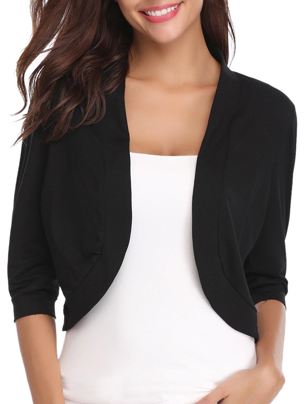 iClosam Women Open Front Cardigan 3/4 Sleeve Cropped Bolero Shrug