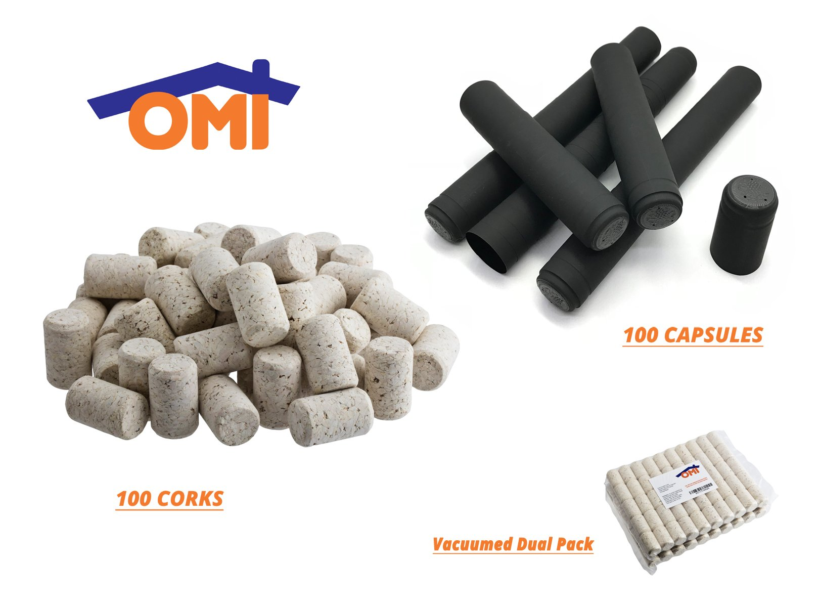 Omi 100 Pack Agglomerated Natural Wine Bottle Corks & Black Capsules - #9 Portugal Made 100 Wine Bottle Shrink Capsules Homemade Craft by Omi Home (Image #1)