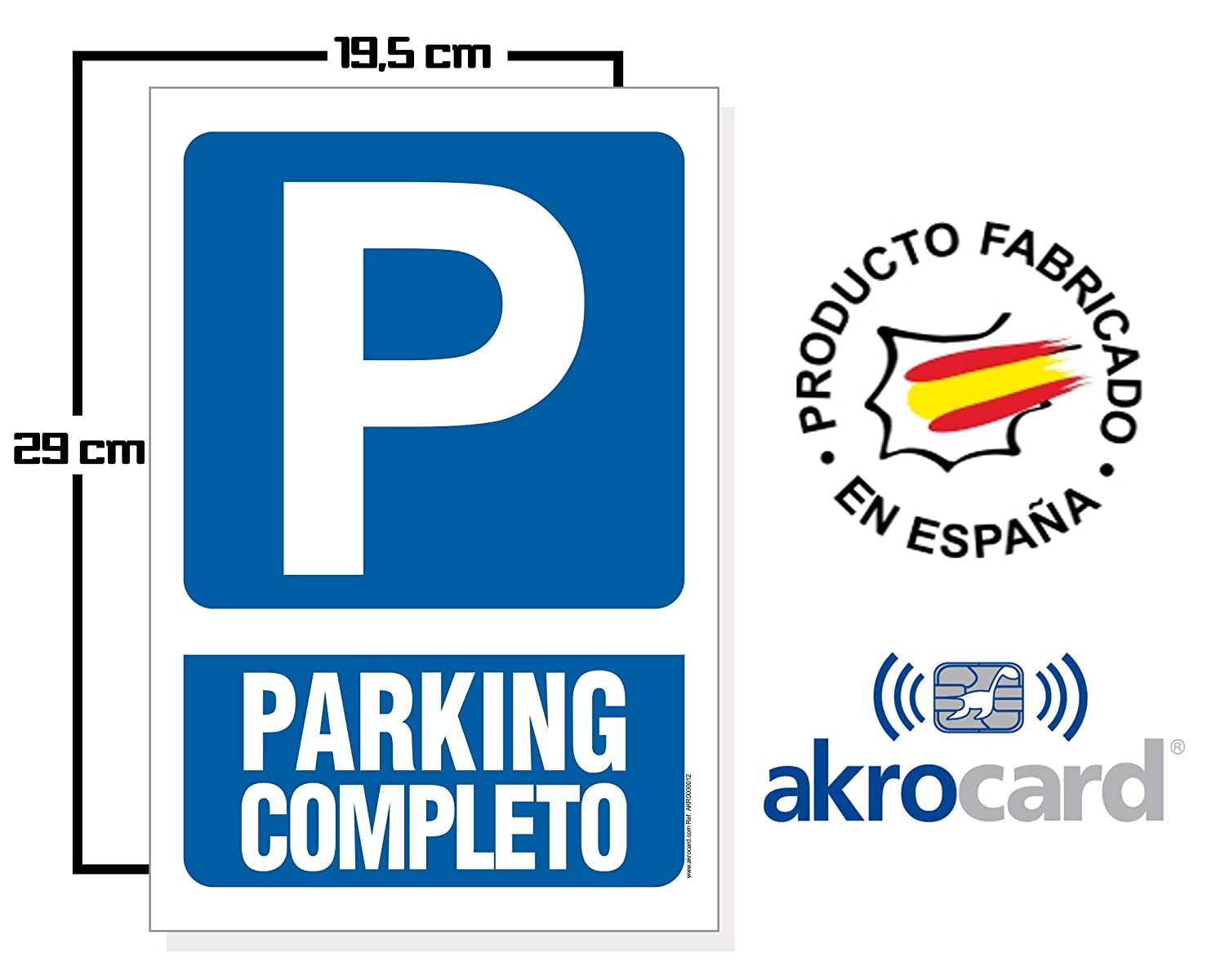 Cartel resistente PVC - Señaletica de aviso - ideal para colgar (PARKING)