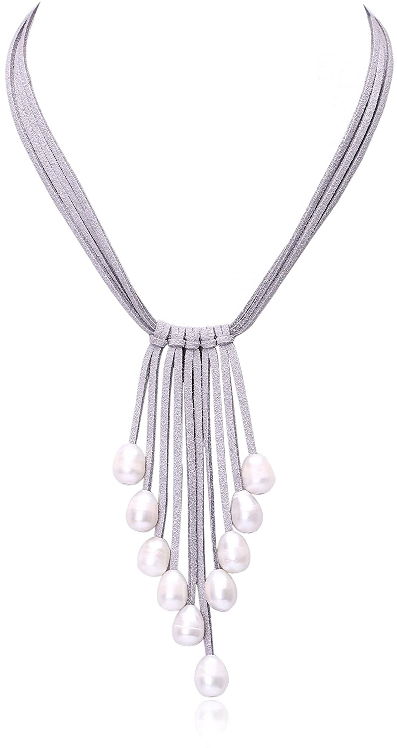 4fe933836 Amazon.com: Cultured Freshwater Pearl Pendant Necklace on Multi Strands  Suede Cord Tassel Jewelry for Women by Aobei 18'' Grey: Jewelry