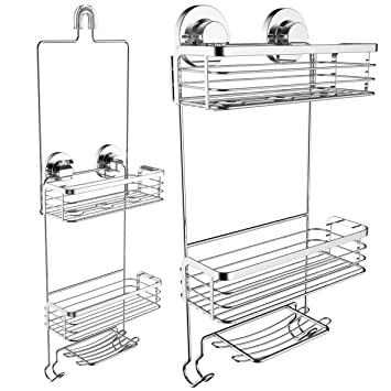 Vidan Home Solutions Dual Installation (Hanging Or Mounted) Shower Caddy |  Rustproof Stainless Steel