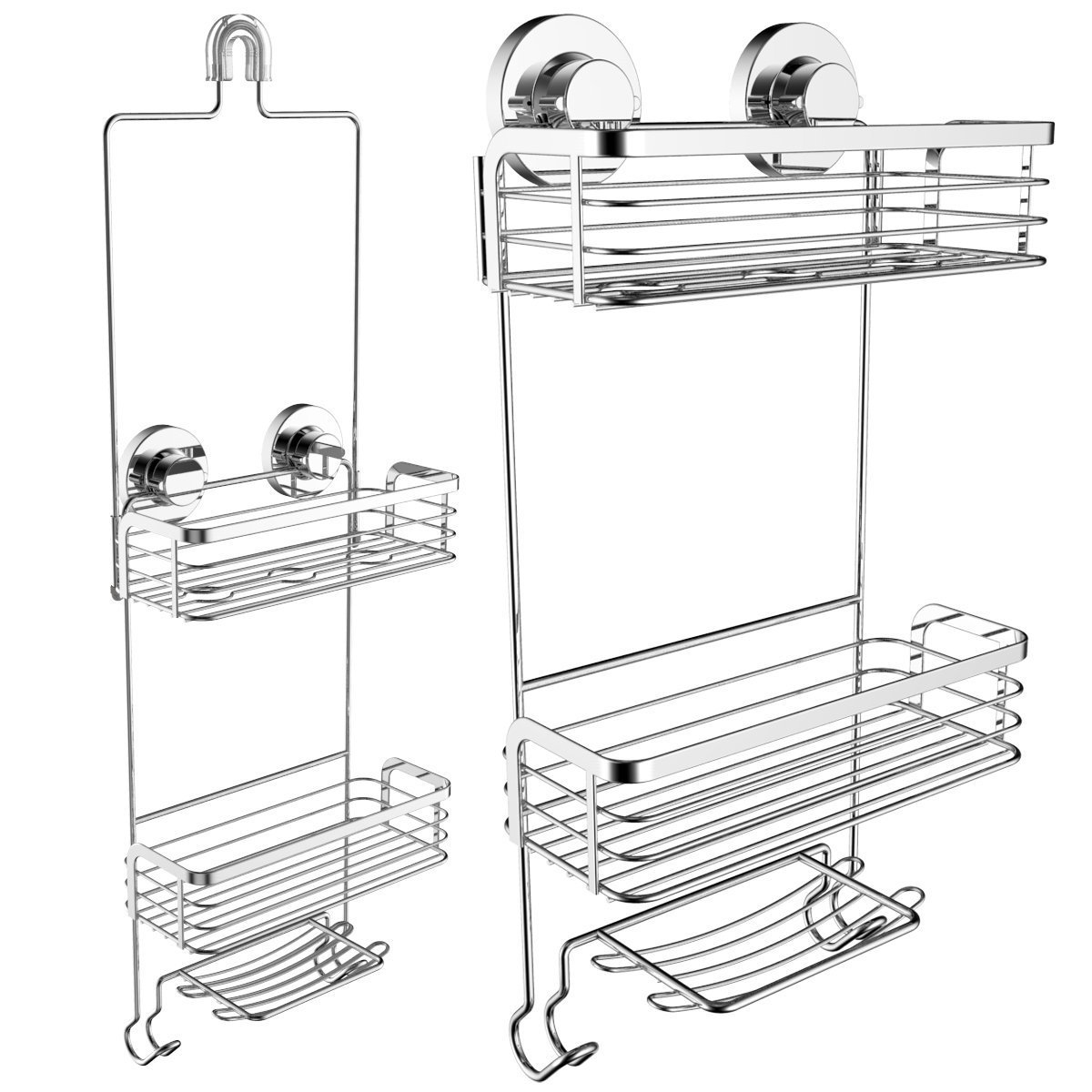 Vidan Home Solutions Dual Installation (Hanging or Mounted) Shower Caddy | Rustproof Stainless Steel | Includes 2 Superior Suction Cups