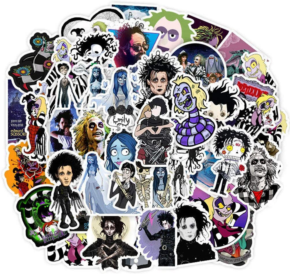 Tim Burton Movie Laptop Stickers 50pcs Pack Vinyl Skateboard Water Bottle Computer Travel Case Guitar Snowboard Luggage Car Bike Phone Graffiti Decal (Edward Scissorhands)
