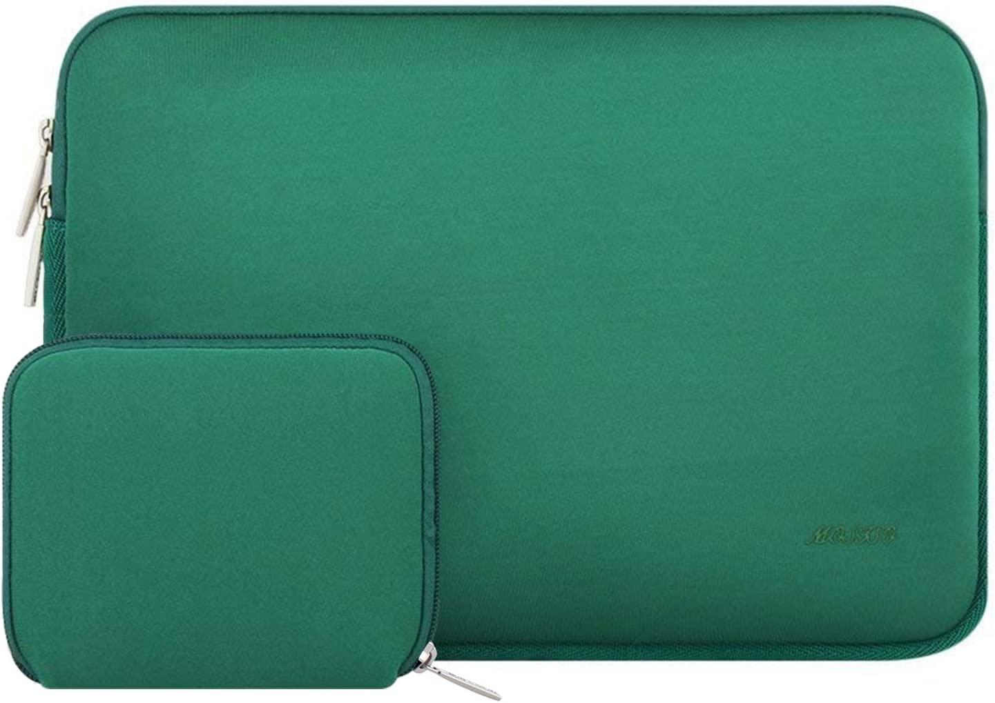 MOSISO Laptop Sleeve Compatible with 13-13.3 inch MacBook Pro, MacBook Air, Notebook Computer, Water Repellent Neoprene Bag with Small Case, Peacock Green