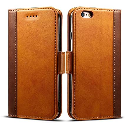 on sale 7f5b8 f98b0 Techstudio Leather Flip Cover Wallet Case Magnetic Closure for Apple iPhone  6 6S - 4.7-inch(Brown)