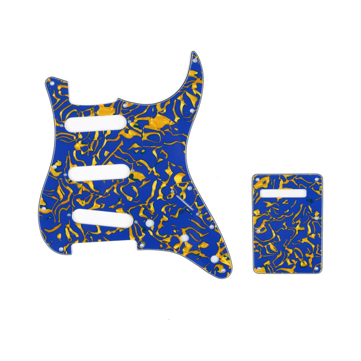 Musiclily SSS 11 Holes Strat Electric Guitar Pickguard and BackPlate Set for Fender US/Mexico Made Standard Stratocaster Modern Style Guitar Parts,4Ply Pearl Bronze MX0128MX0038