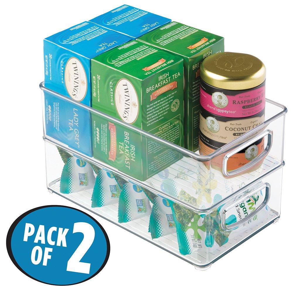 "mDesign Plastic Kitchen Pantry Cabinet, Refrigerator or Freezer Food Storage Bins with Handles - Organizer for Fruit, Yogurt, Snacks, Pasta - Food Safe, BPA Free, 10"" Long - 2 Pack, Clear"