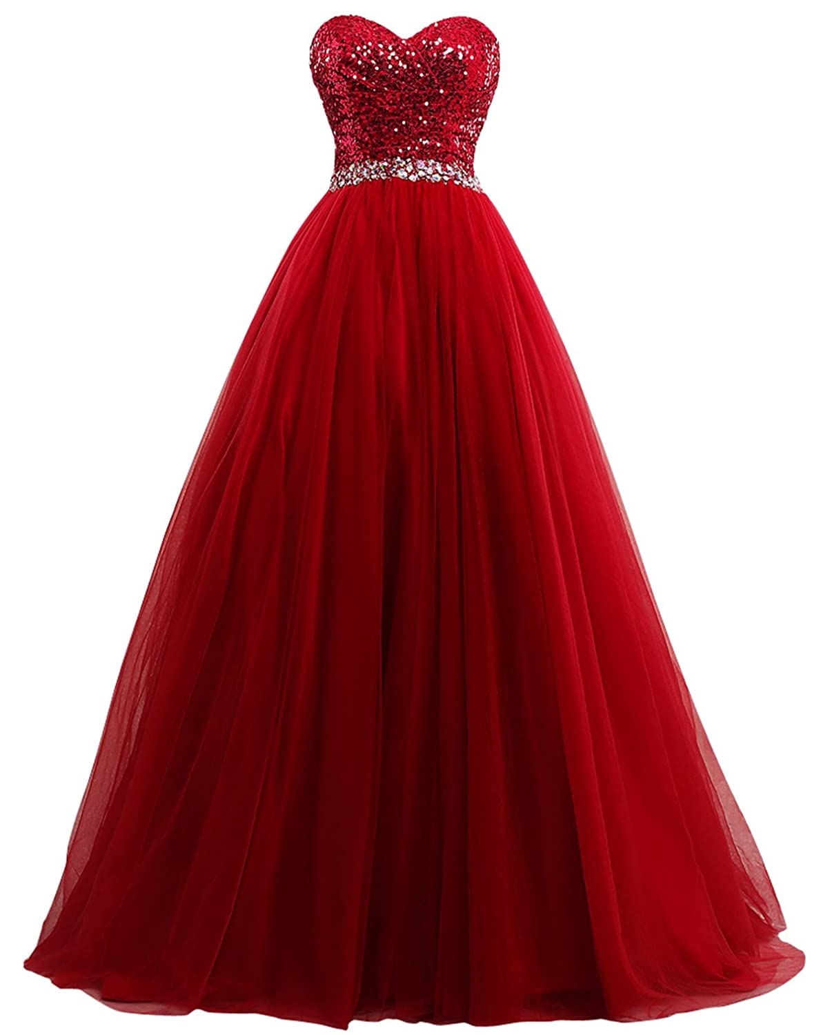 Dark Red Fanciest Women's Sweet 16 Tulle Sequin Ball Gown Prom Dresses for Quinceanera