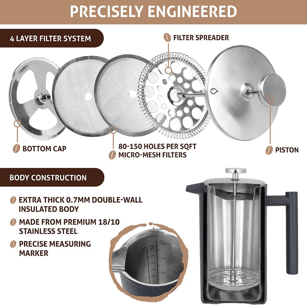 OPUX French Press Coffee Maker 34 fl oz 1 Liter, Premium Stainless Steel Large Insulated Coffee Press Double Wall, Extra Filters, Dishwasher Safe Matte Grey
