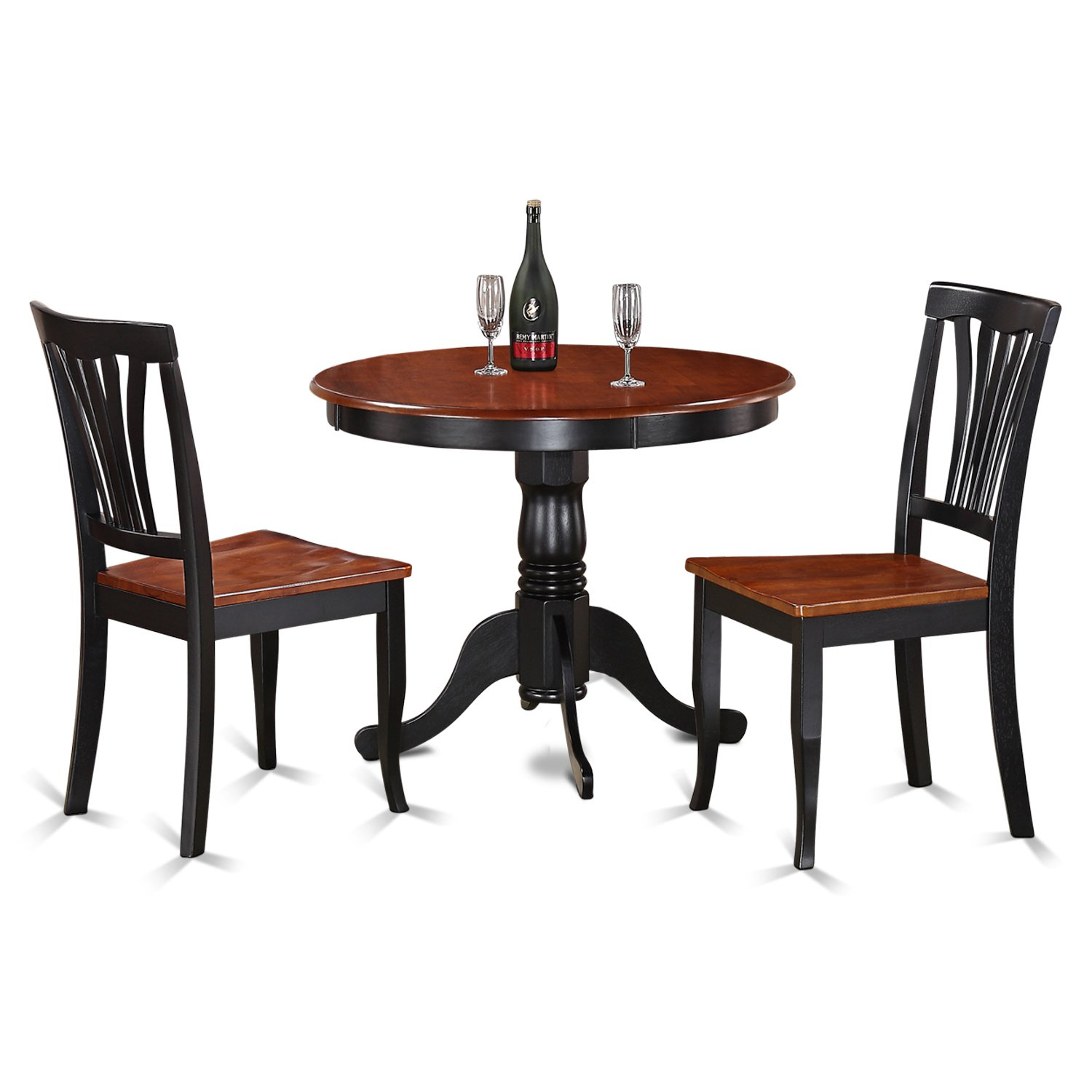 East West Furniture ANAV3-BLK-W 3-Piece Kitchen Nook Dining Table Set, Black/Cherry Finish