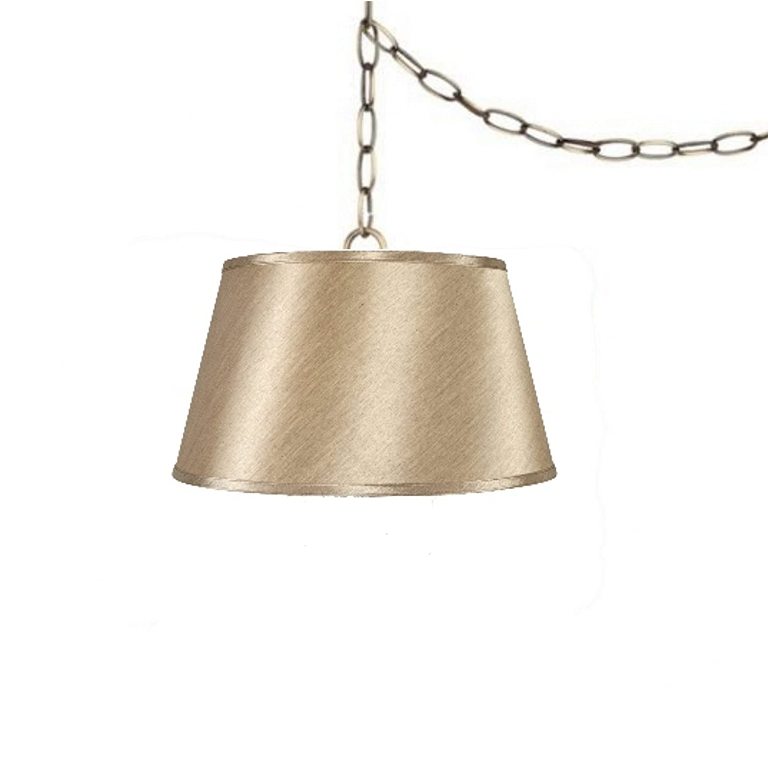 Upgradelights 19 Inch Tan Swag Lamp Lighting Fixture Hanging Plug