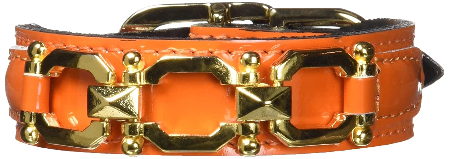 Hartman & pink 3379 Georgia Dog Collar, 8 to 10-Inch, orange Patent
