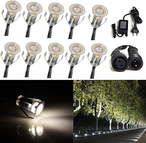 Excellent 10pcs Stainless Steel LED Deck Light Kit Landscape Recessed Lighting,for Patio Home Garden Floor Steps Stair Yard Lights,Waterproof IP67 18mm Soft Light ,US Local Shipping 2-4 Days