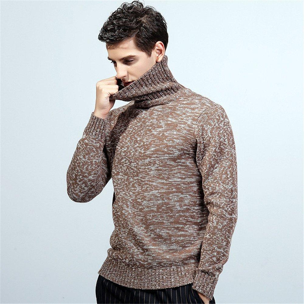 Jdfosvm Herbst und Winter Mode männer  Herren langärmelige Pullover Pullover Rollkragen - Pullover in England,Kaffee,XL