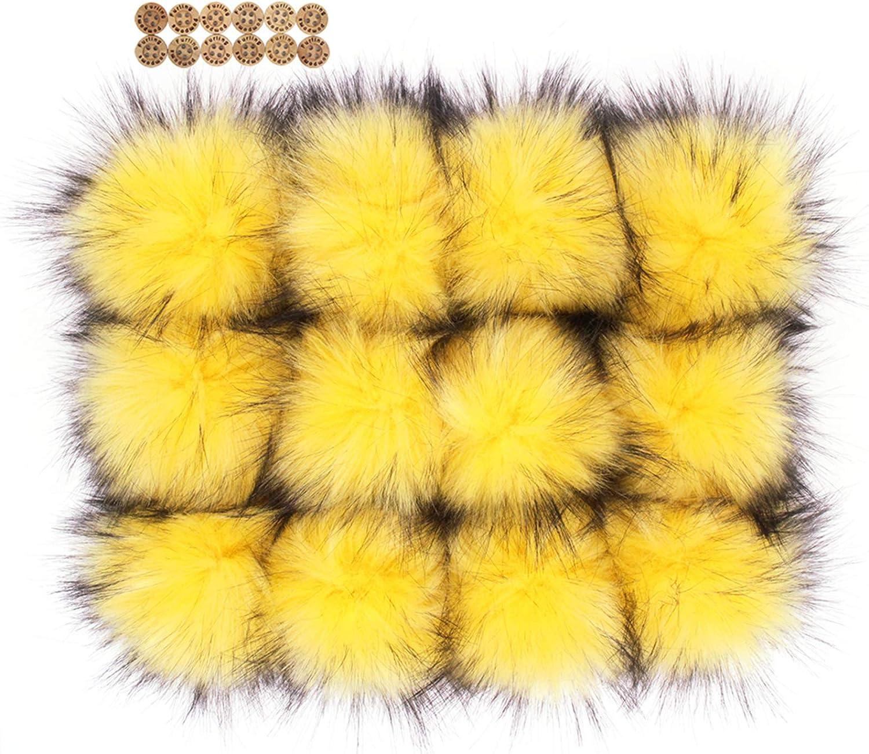 burnt orange 3 inch Faux fur pom pom with clips