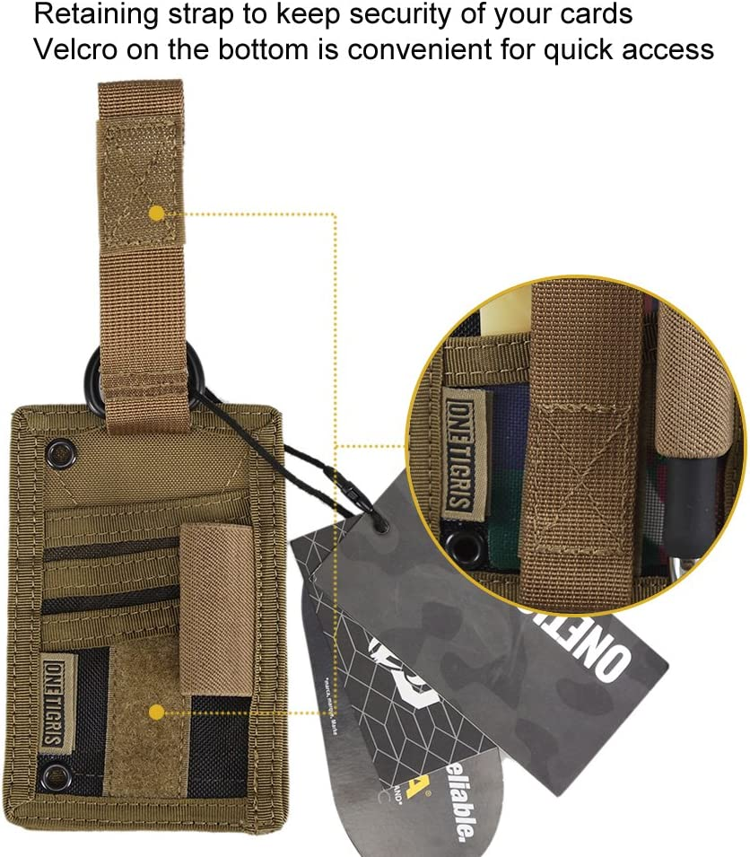 OneTigris Porte-Cartes Didentit/é Tactique Porte-Badges en Nylon avec Porte-Crayons Et Collier