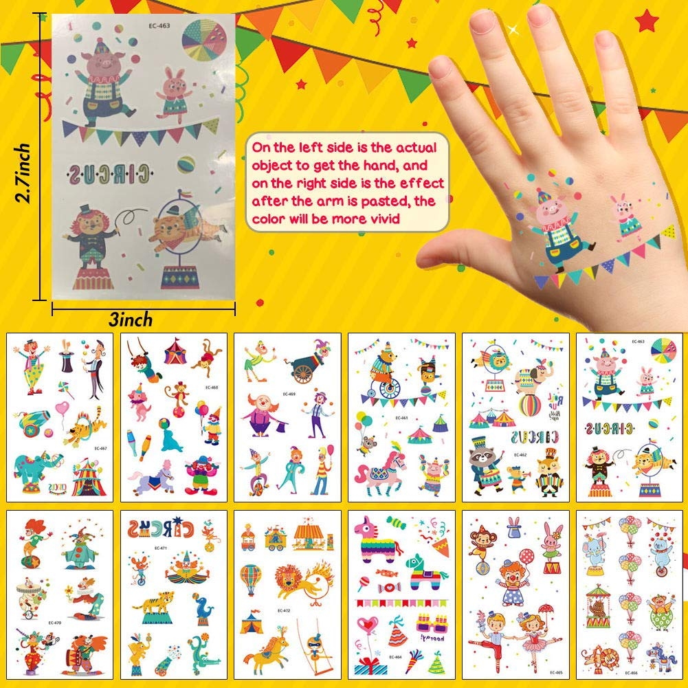 LovesTown 22pcs Temporary Tattoos for Kids,Carnival Kids\' Stickers Circus Troupe Children\'s Tattoos Circus Carnival Party Supplies Favors
