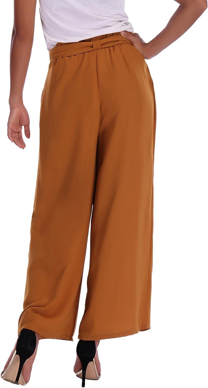 Mujer Abollria Pantalones De Palazzo Para Mujer Elegantes Pantalones De Pierna Ancha Con Cintura Alta Casual Pantalon Anchos Con Cinturon Pants Ligero Y Sueltos Para Primavera Verano Ropa Brandknewmag Com