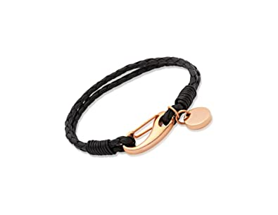 Unique & Co. Ladies 19cm Black Leather Bracelet with Rose Gold Plated Steel Shrimp Clasp and Disc Charm