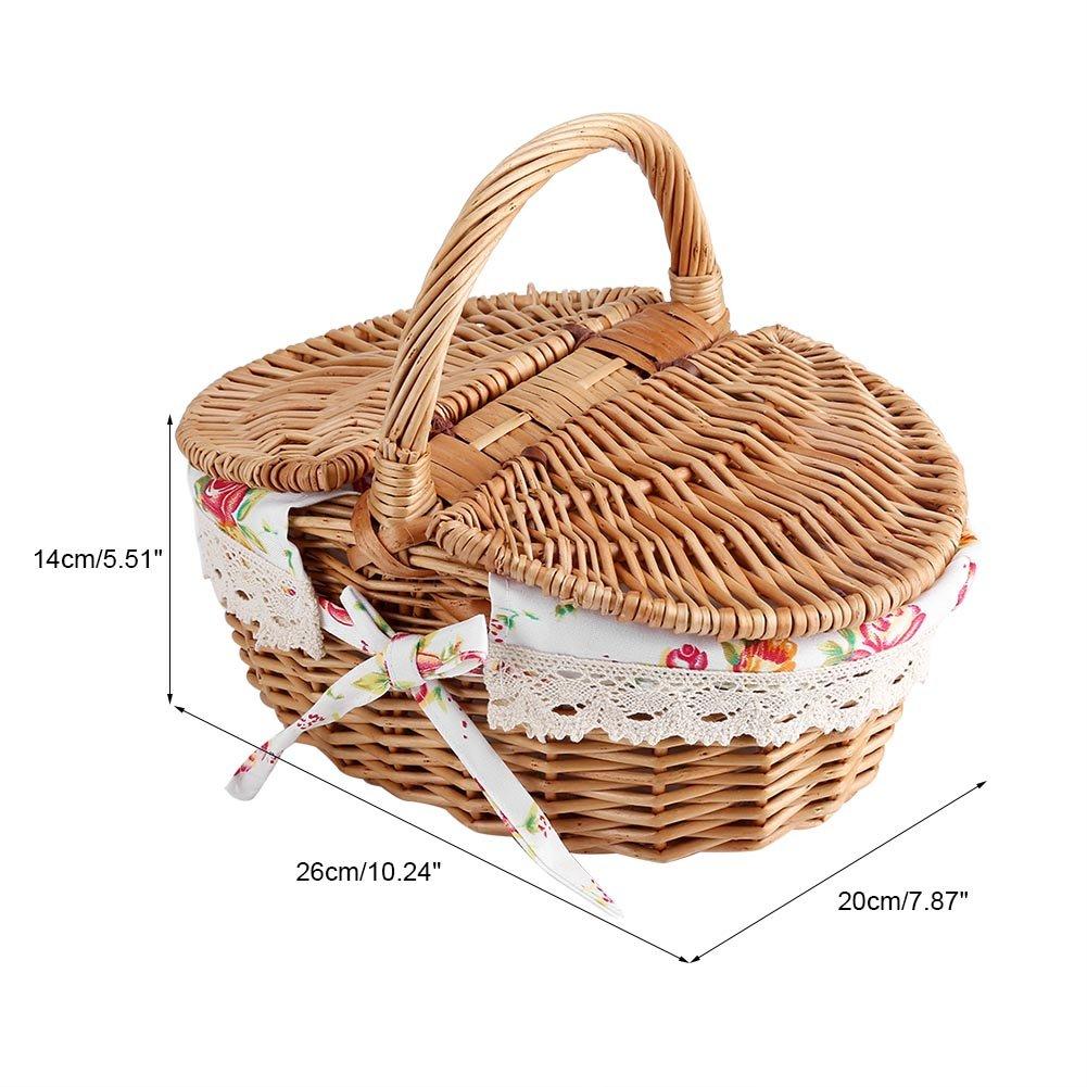 Cesta de Bamb/ú de la Comida Campestre en la cesta de mimbre de la rota de la mano para almacenar alimento de fruta con Poign/éev en el pa/ís