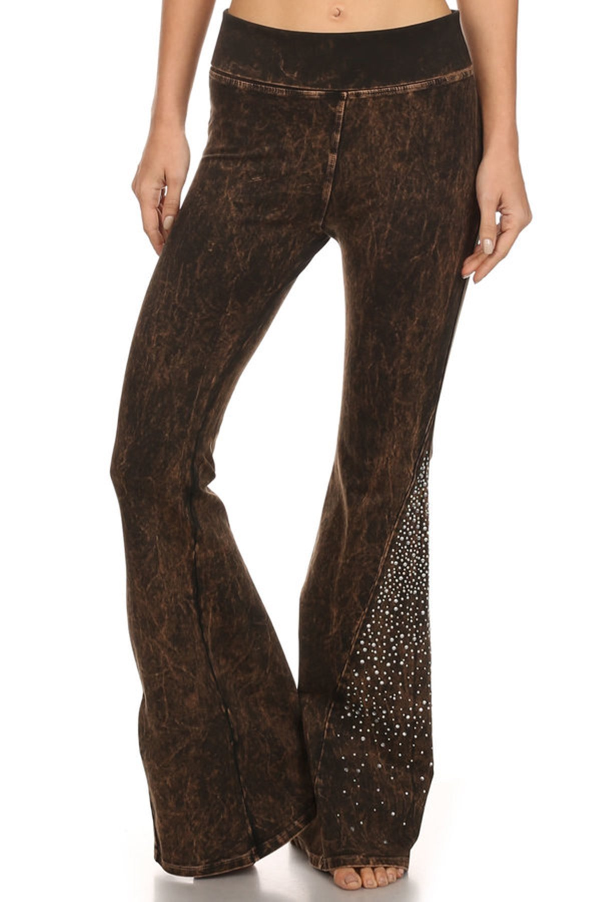 T Party Womens Stone Embellished Mineral Washed Flared Pants Brown M