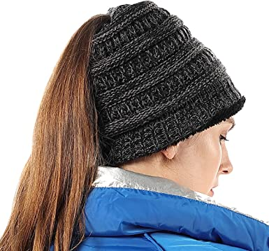 Winter Cable Knit Ponytail Beanie Soft Stretch Messy High Bun Hat Cap Hat Warm