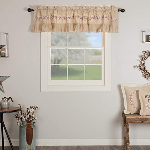 VHC Brands Ashmont Window Valance, 100 Cotton Farmhouse Curtain Topper for Living Room Kitchen