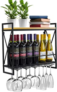 Sorbus Wine Bottle Stemware Glass Rack, Industrial 2-Tier Wood Shelf, Wall Mounted Wine Racks with 5 Stem Glass Holders for Wine Glasses, Flutes, Mugs, Home Décor, Metal