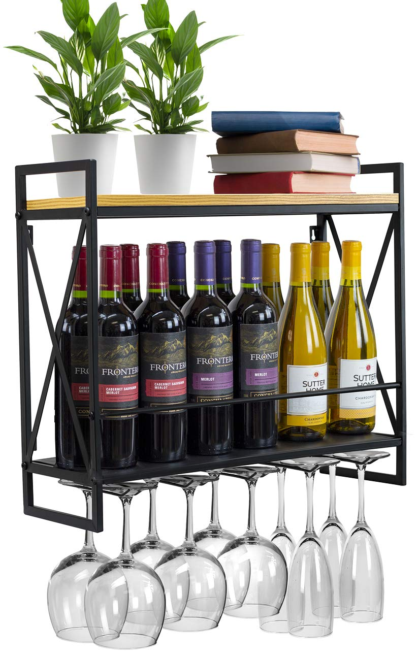 Sorbus Wine Bottle Stemware Glass Rack, Industrial 2-Tier Wood Shelf, Wall Mounted Wine Racks with 5 Stem Glass Holders for Wine Glasses, Flutes, Mugs, Home Décor, Metal by Sorbus