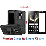 Like It Grab It Protective Dual Layer Back Cover Case for Lenovo K8 Note and 2.5D curved 3D Edge to Edge Full Screen Tempered Glass (Black)