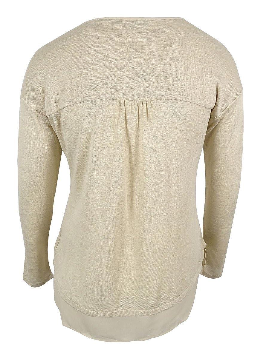 Sanctuary Womens Long Sleeve Chiffon Hem Sweater Top