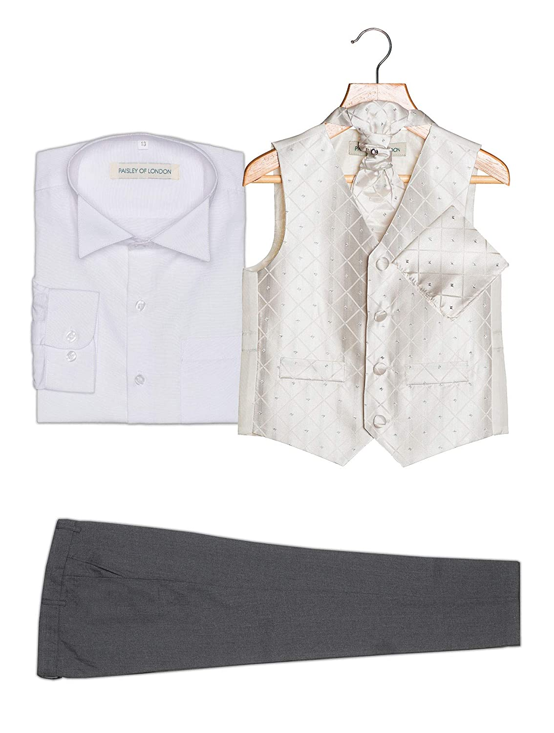 Diamond Waistcoat Suit 3m-13yrs Boys Occasion Wear Set with Grey Trousers Paisley of London