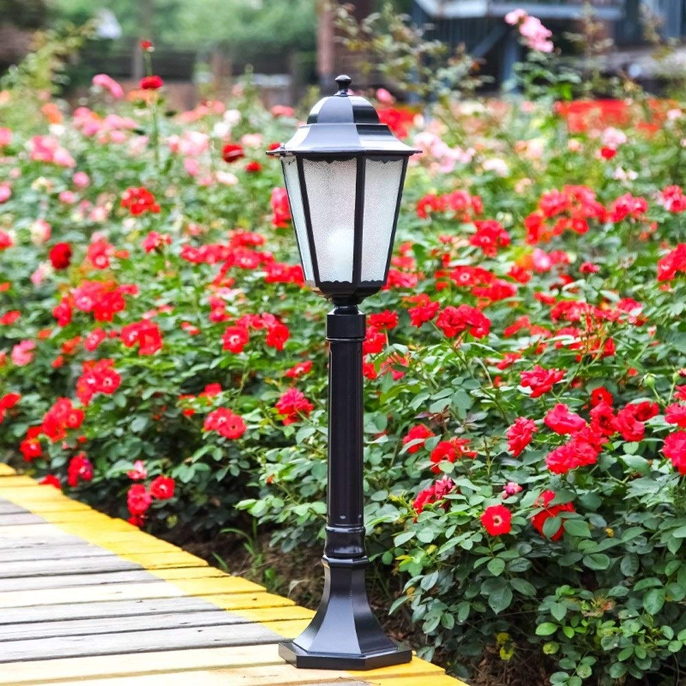 Bloomry Traditional Outside Water-Proof 80cm Post Light Garden D/écor High Pole Pillar Lantern Outdoor Rainproof Lawn Garden Landscape Community Street Exterior Lawn Column Lamp