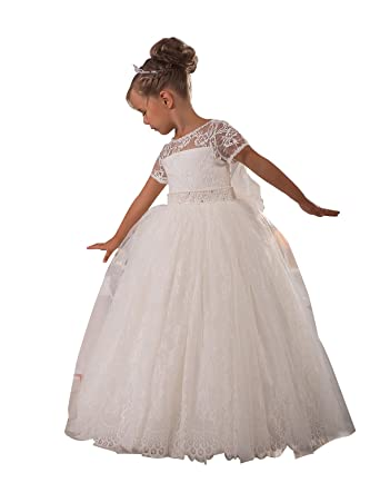 princhar Ivory Lace Flower Girl Dress Junior Bridesmaids Wedding Party Dress US 2T Ivory