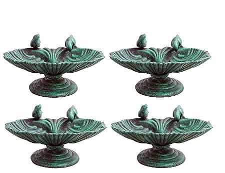 Karara Mujassme European Victorian Style Antique Green Cast iron Bird Bath Garden Home Décor (Set of 4)