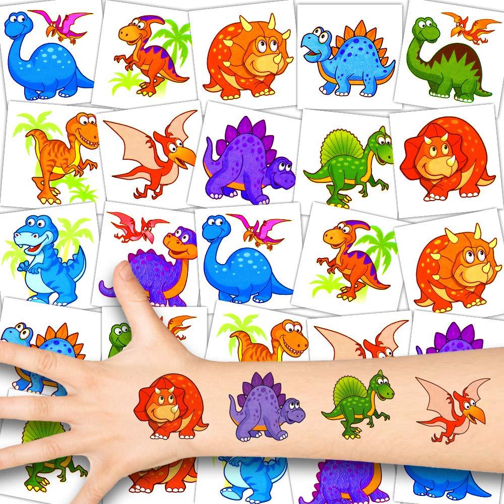 German Trendseller® - 36x Dino Temporal - Conjunto Tatuajes - Fiesta Dinosaurio┃Cumpleaños Niños┃Regalito┃Pequeños Dinosaurios Dulces┃36 Tatuajes